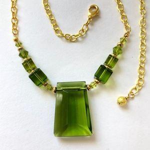 Modern Olive Green Crystal Pendant Necklace
